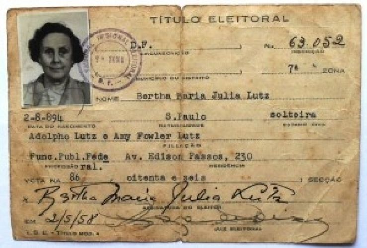 Cartilla electoral de Bertha Lutz en 1958